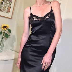 Calvin Klein little black silky lace slip dress